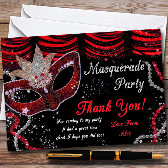 Red & Black Mask Masquerade Ball Personalised Party Thank You Cards