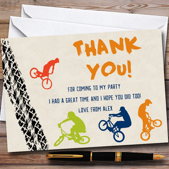 Tyre Track BMX Bike Cycling Personalised Party Thank You Cards