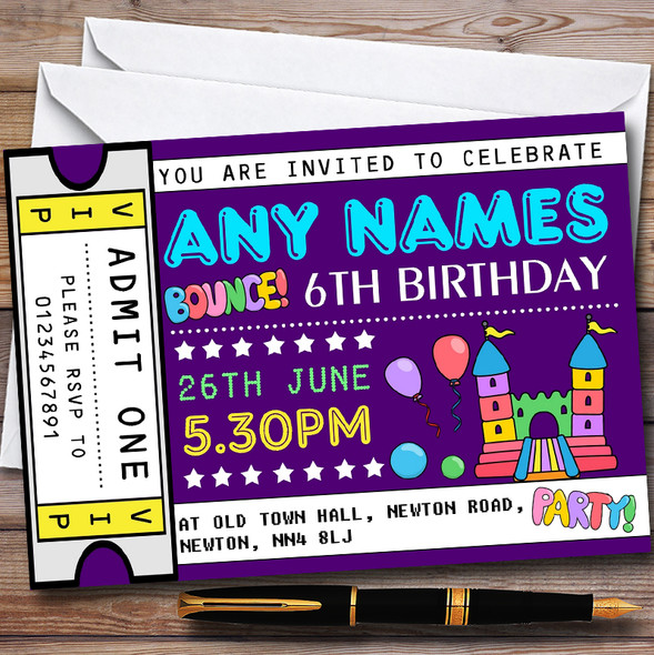 Purple Bouncy Castle Ticket Personalised Childrens Birthday Party Invitations