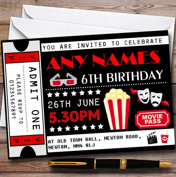 Movie Film Cinema Ticket Personalised Childrens Birthday Party Invitations