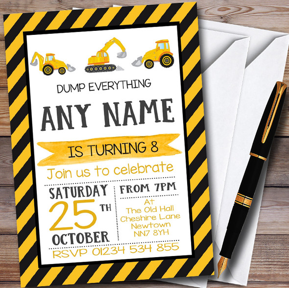 Digger Construction Dump Everything Childrens Birthday Party Invitations