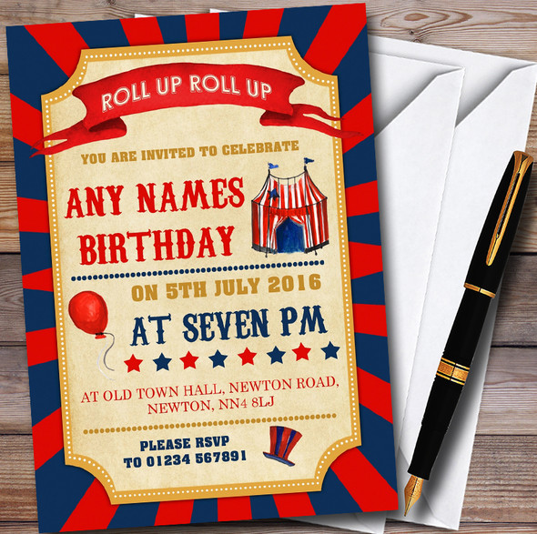 Vintage Blue & Red Circus Carnival Childrens Birthday Party Invitations