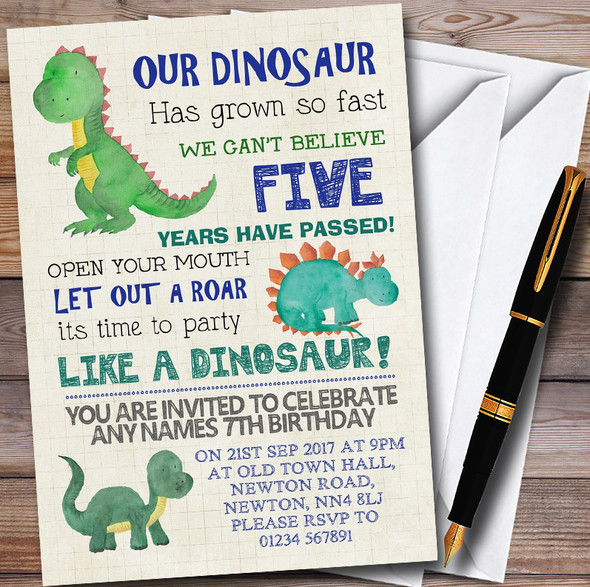 Party Like A Dinosaur Personalised Childrens Birthday Party Invitations