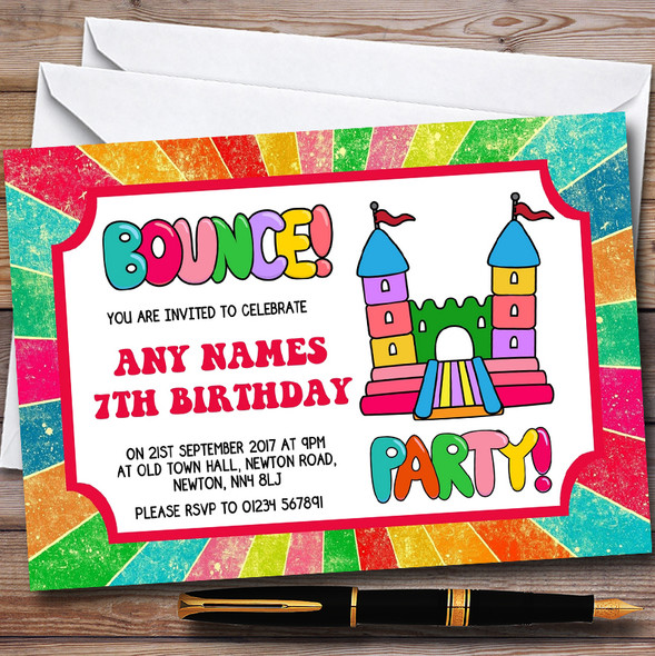 Rainbow Bouncy Castle Personalised Childrens Birthday Party Invitations