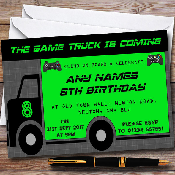 Games Truck Gaming Personalised Childrens Birthday Party Invitations
