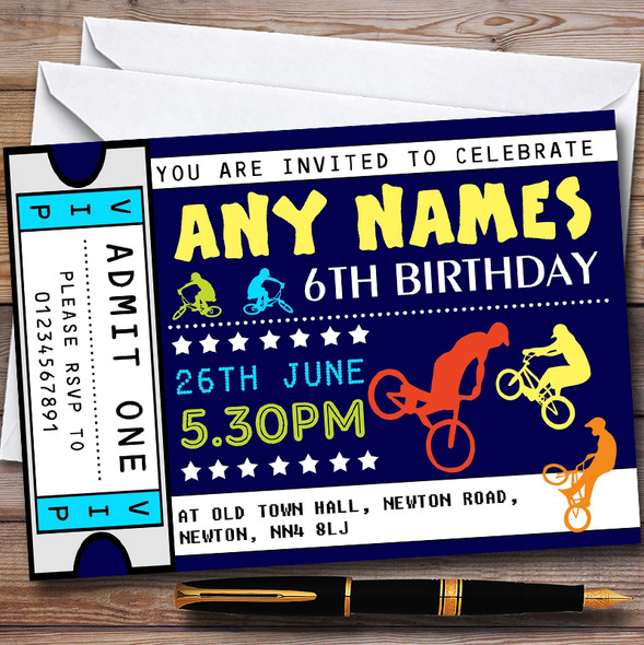 BMX Biking Ticket Personalised Childrens Birthday Party Invitations