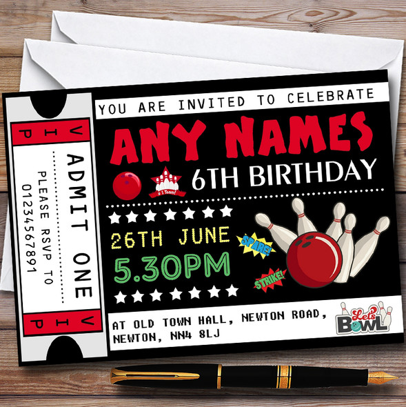 Bowling Ticket Personalised Childrens Birthday Party Invitations