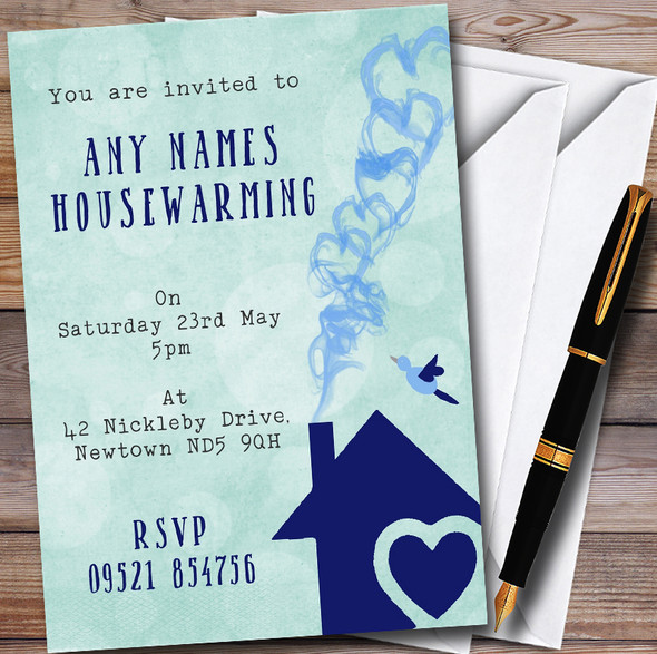 Green & Blue Heart House Personalised Housewarming Party Invitations