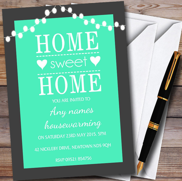Mint Green String Lights Personalised Housewarming Party Invitations