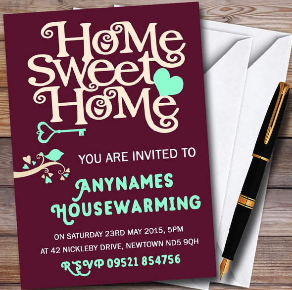 Wine Red Home Sweet Home Personalised Housewarming Party Invitations