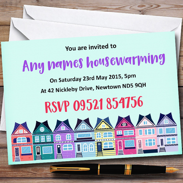 Green Colourful Houses Personalised Housewarming Party Invitations