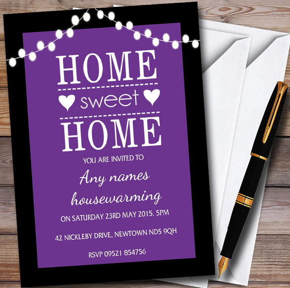 Purple String Lights Personalised Housewarming Party Invitations