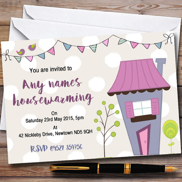 Dotty Bunting House Personalised Housewarming Party Invitations