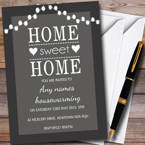 Grey String Lights Personalised Housewarming Party Invitations