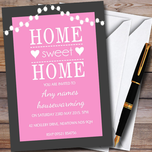 Pink String Lights Personalised Housewarming Party Invitations