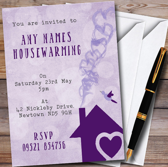 Purple Heart House Personalised Housewarming Party Invitations
