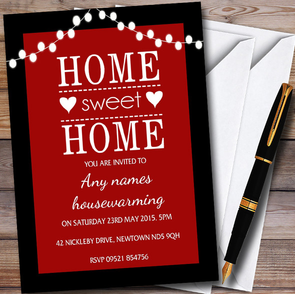 Red String Lights Personalised Housewarming Party Invitations