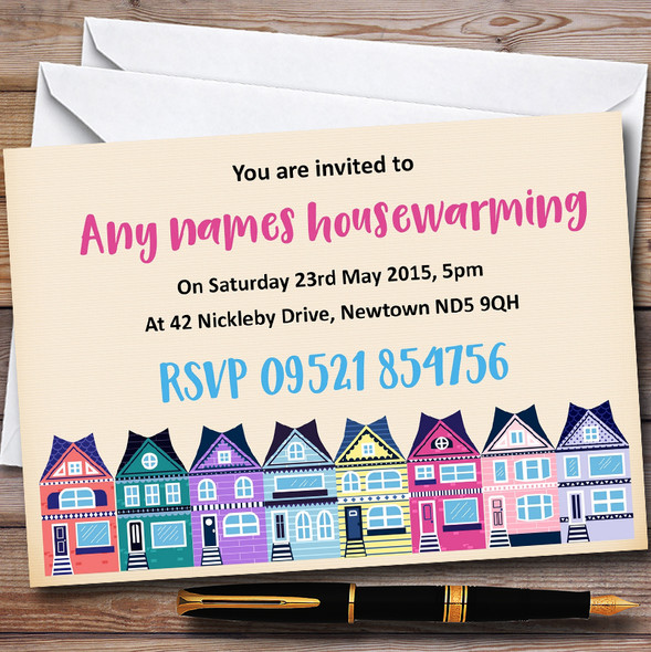 Colourful Houses Personalised Housewarming Party Invitations