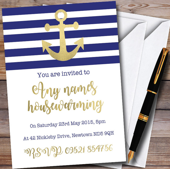 Dropped Anchor Personalised Housewarming Party Invitations