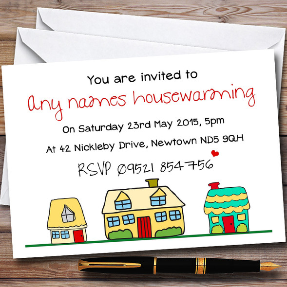 Doodle Houses Personalised Housewarming Party Invitations
