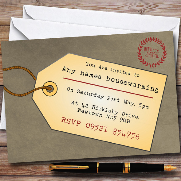 Luggage Tag Personalised Housewarming Party Invitations