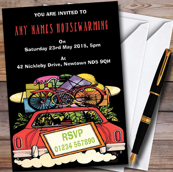 Loaded Car Personalised Housewarming Party Invitations