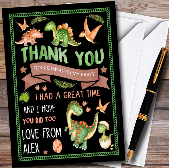 Black Dinosaur Watercolour Personalised Childrens Birthday Party Thank You Cards