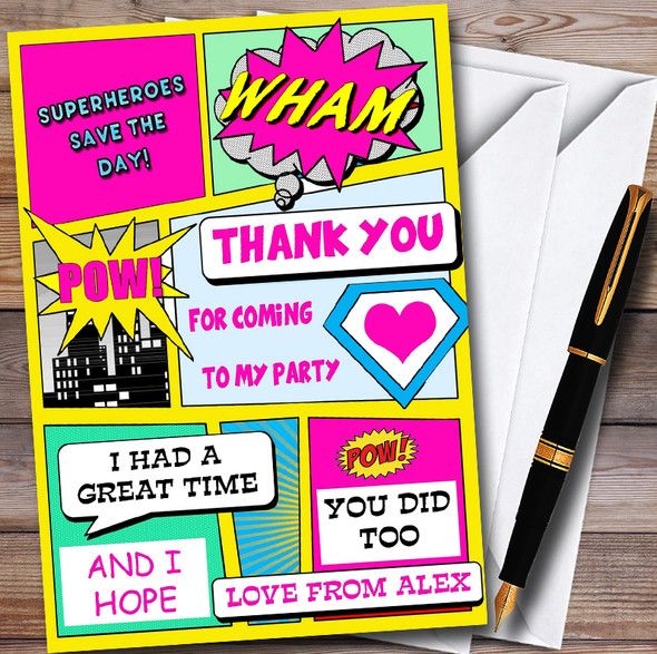 Girls Pink Superhero Comic Personalised Childrens Birthday Party Thank You Cards