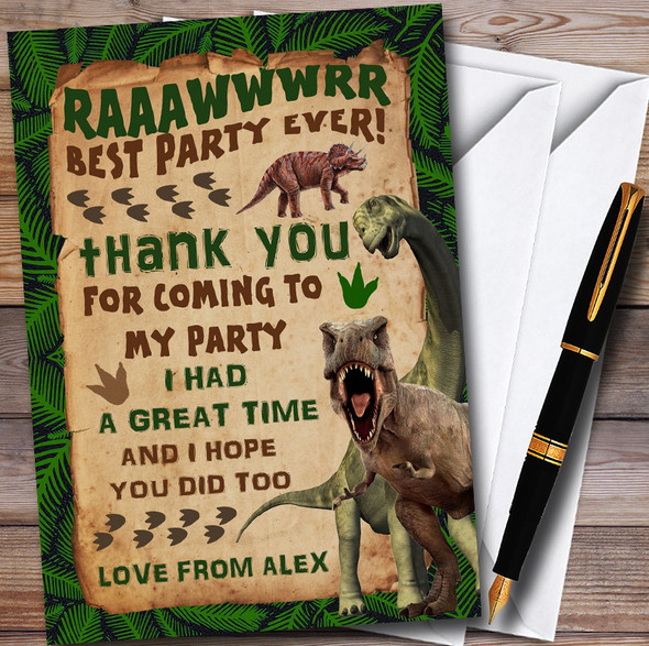 Scary Prehistoric Dinosaur Personalised Childrens Birthday Party Thank You Cards