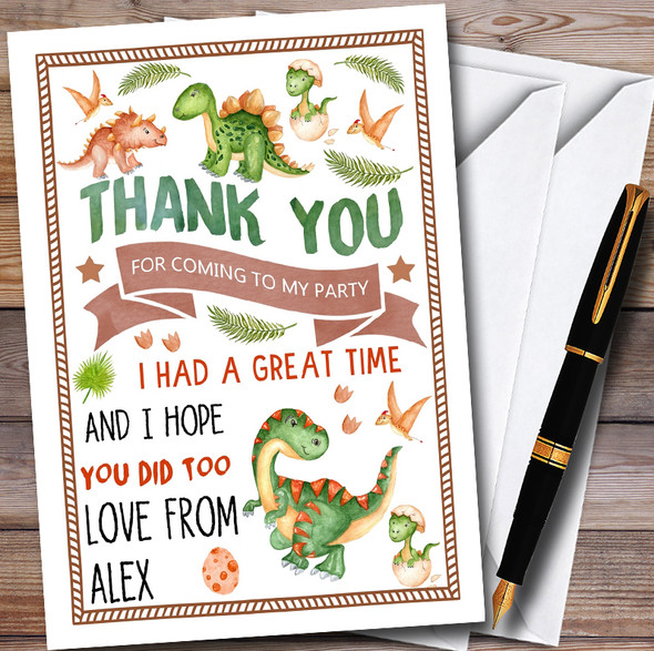Cute Dinosaur Watercolour Personalised Childrens Birthday Party Thank You Cards