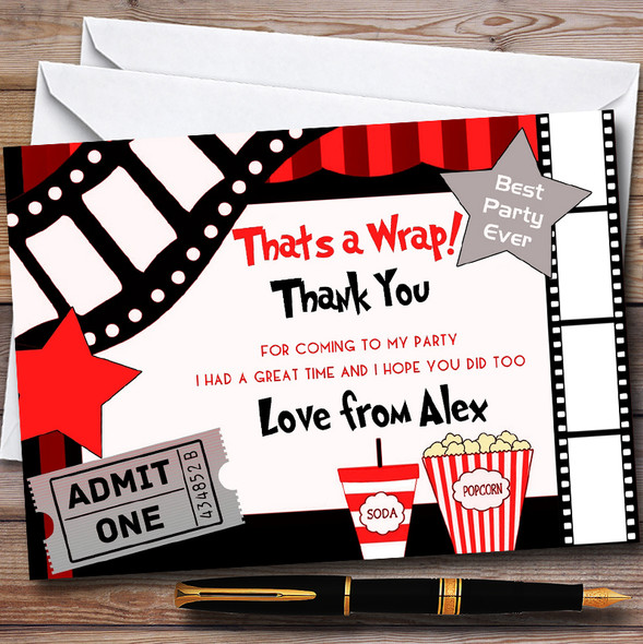 Film Night Movie Cinema Personalised Childrens Birthday Party Thank You Cards
