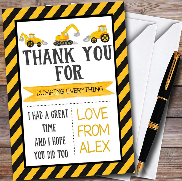 Digger Construction Dump Everything Childrens Birthday Party Thank You Cards