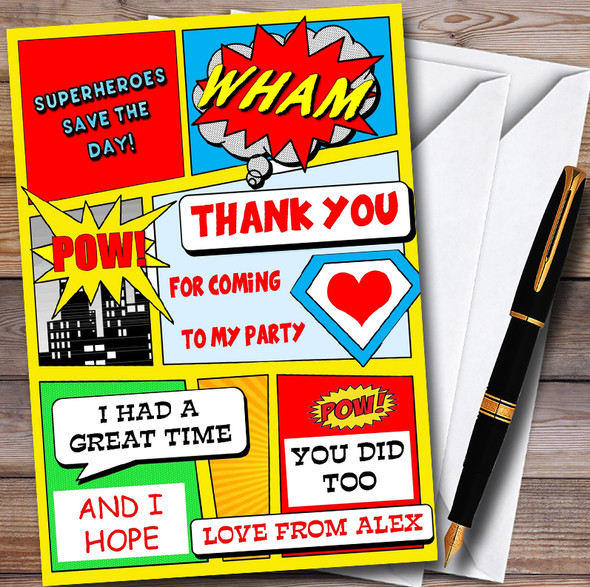 Yellow Superhero Comic Personalised Childrens Birthday Party Thank You Cards