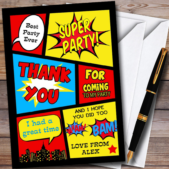 Boys Superhero Comic Personalised Childrens Birthday Party Thank You Cards