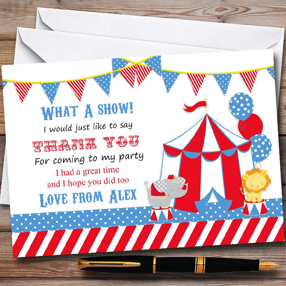 Red & Blue Circus Elephant Lion Childrens Birthday Party Thank You Cards