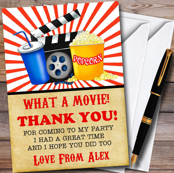 Movie Night Cinema Personalised Childrens Birthday Party Thank You Cards