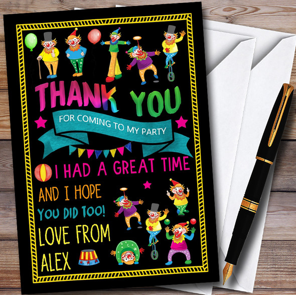 Black Crazy Clown Personalised Childrens Birthday Party Thank You Cards