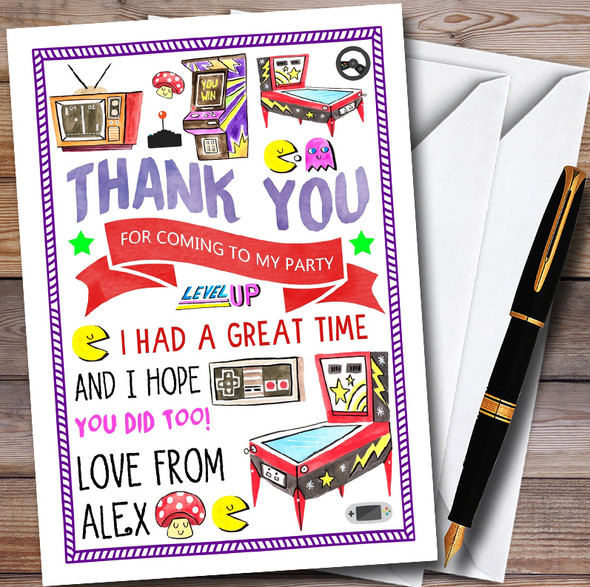 Retro Arcade Game Personalised Childrens Birthday Party Thank You Cards