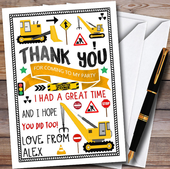 Building Digger Construction Childrens Birthday Party Thank You Cards