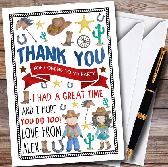 Watercolour Cowboy & Cowgirl Childrens Birthday Party Thank You Cards