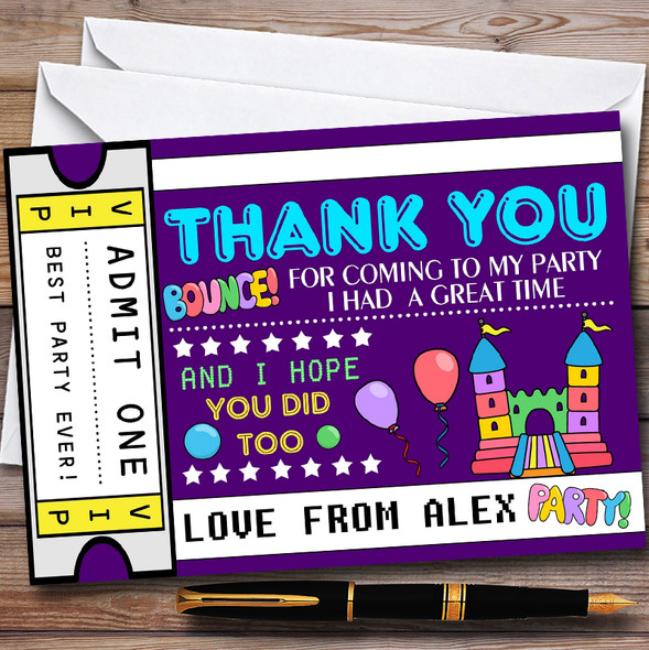 Purple Bouncy Castle Ticket Childrens Birthday Party Thank You Cards