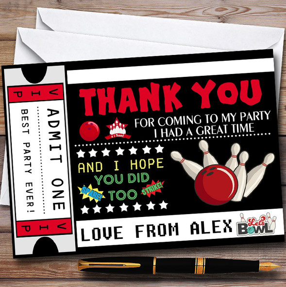Bowling Ticket Personalised Childrens Birthday Party Thank You Cards
