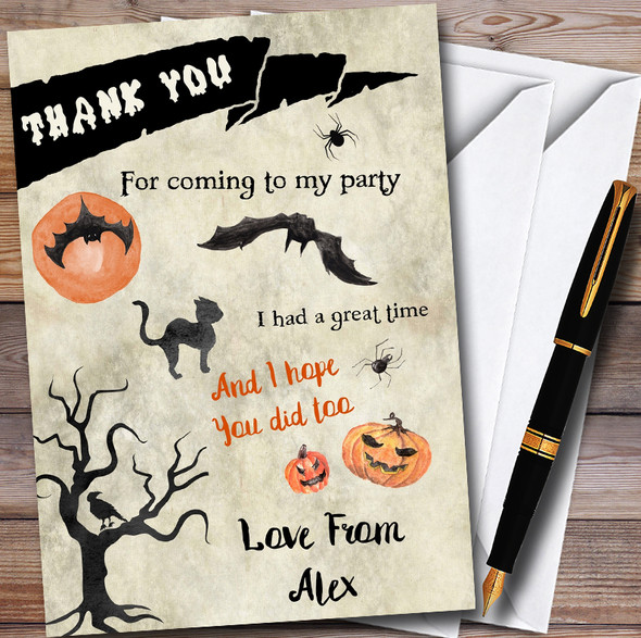 Come If You Dare Scary Personalised Halloween Party Thank You Cards