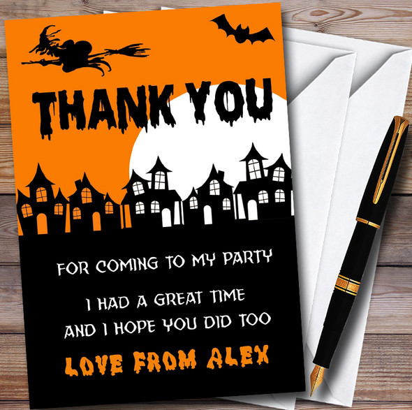 Scary Haunted Houses Personalised Halloween Party Thank You Cards