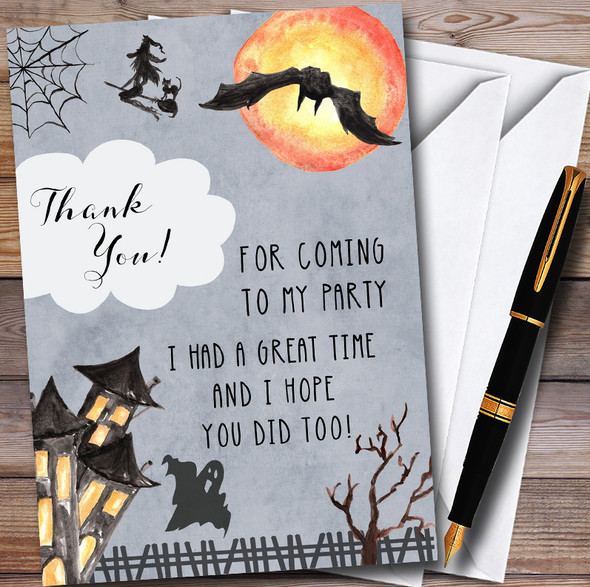 Scary Dark Night Personalised Halloween Party Thank You Cards