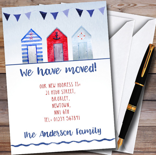 Nautical Beach Hut New Home Change Of Address Moving House Cards