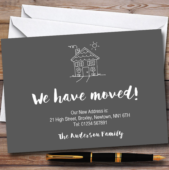 Grey Doodle House New Home Change Of Address Moving House Cards
