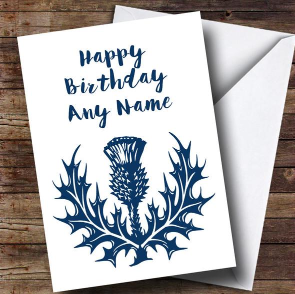Blue & White Scottish Thistle Personalised Birthday Card