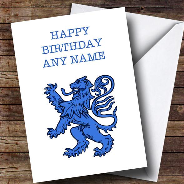 Blue Scottish Lion Personalised Birthday Card