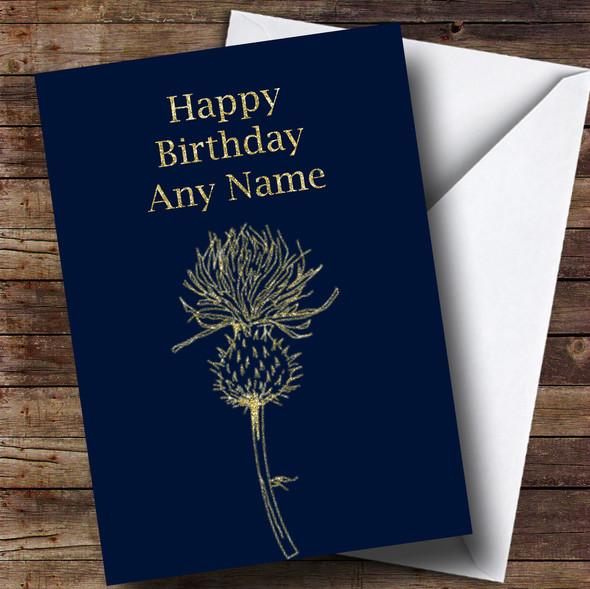 Gold Scottish Thistle Personalised Birthday Card